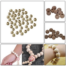 Natural Colour Wooden Round Beads for Making Jewellery Keychain DIY Arts... - $6.36+