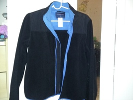 AEROPOSTALE HOODIE JACKET Black Blue Edging Warm Fleece Flexible Zipper NEW - $24.99