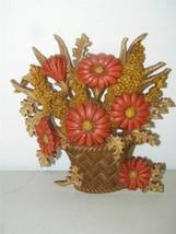 Vintage Burwood Flower Basket Daisy Rust Brown Autumn Wall Decor Plaque ... - $9.49