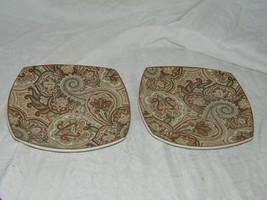2 Waverly Paddock Shawl Brown Rust Salad Plate 18358 Plates - $41.71
