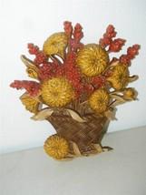 Vintage Burwood Flower Basket Mums Mum Rust Brown Autumn Wall Decor Plaq... - $9.49