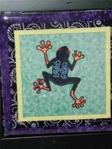 Tree Frog Framed Tile Trivet Robin Bowman Designs Fabric Collage 12353 - $23.36