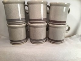 "McCoy Mugs Lot of 6 #1412 USA Gray Pottery Stoneware 3 3/4"" t - $24.74"