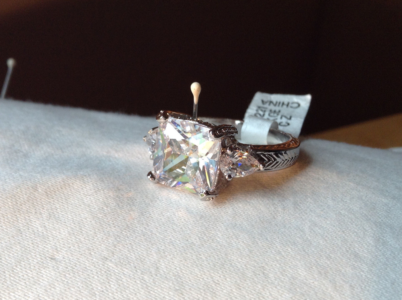 Square Cut CZ Chevron Design 18K White Gold Ring Size 9 and 10