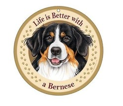 "Life is Better with a Bernese 10"" round Wood Plaque Sign Dog Lover Gift NEW - $14.95"