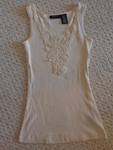 Off-White Mixit Petite Ladies' Embroidered Tank Top. (#1662) - $5.99