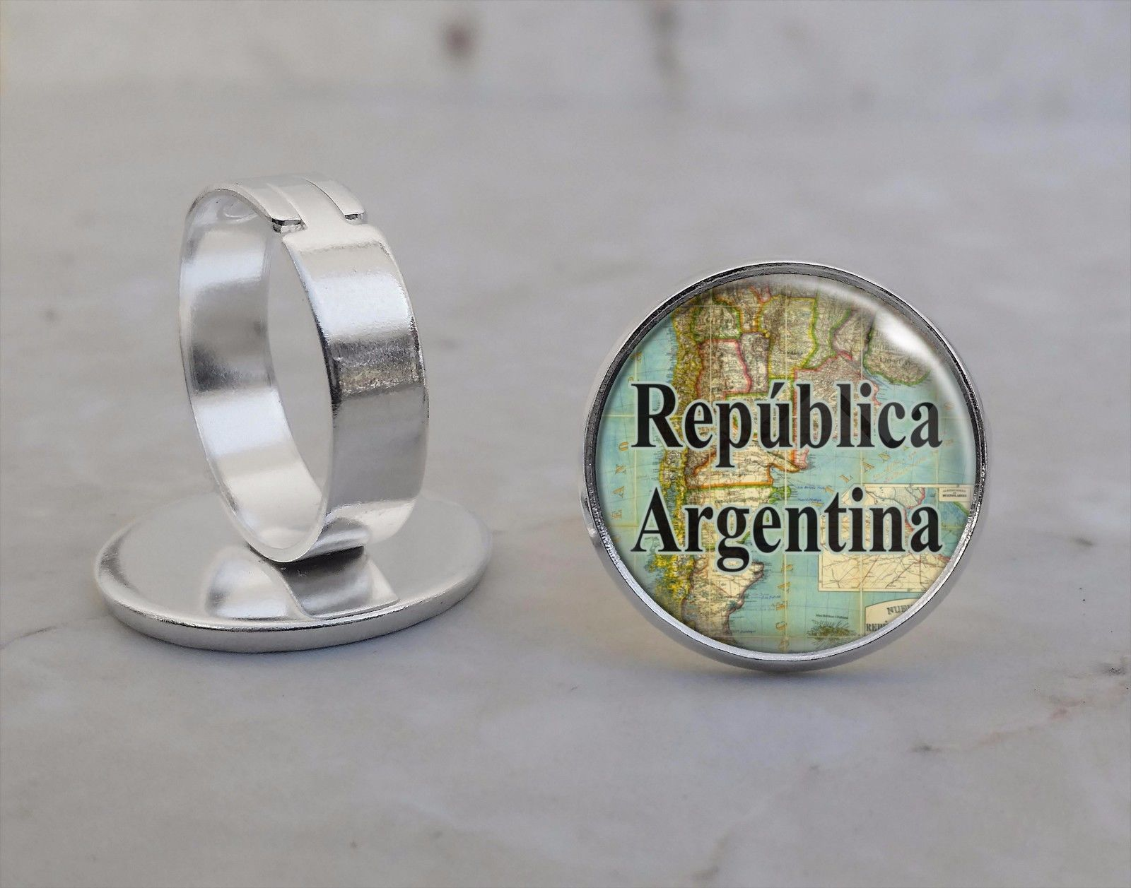 Primary image for Choose South American City or Country Vintage Map Adjustable Ring