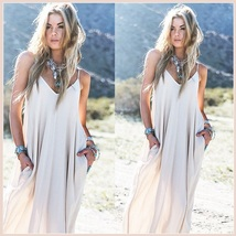 Long Loose Cotton Causual Sexy Spaghetti Strap V Neck Maxi Summer Beach ... - $39.95