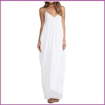Long Loose Cotton Causual Sexy Spaghetti Strap V Neck Maxi Summer Beach Dress image 2