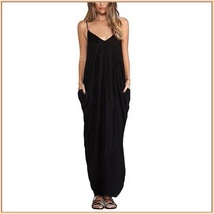 Long Loose Cotton Causual Sexy Spaghetti Strap V Neck Maxi Summer Beach Dress image 4