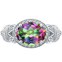 Vintage Oval Mystic Topaz & Round Diamond Halo Unique Ring Sterling Silv... - $252.00