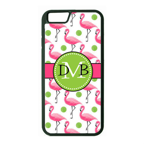 MONOGRAMMED RUBBER CASE FOR iPHONE 6 6s or 6 6s Plus PINK FLAMINGO