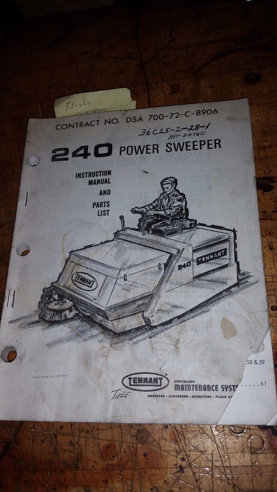 Tennant 240 power sweeper instruction manual and parts list book guide