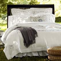 Sferra JANELLA King Sham Egyptian White Cotton Percale Khaki Embroidery New - $86.90