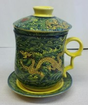 Ceramic Gold Dragon Tea Cup Pot & Lid & Porcelain Infuser Filter & Saucer Set