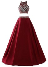 Two Piece Prom Dress Burgundy Long,Homecoming Dress,Party Dress,Graduation Dress - $179.00