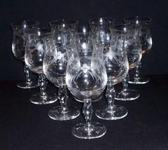 10 Vtg HEAVY Etch & LATTICE Crystal Tulip Stem GOBLETS 10 Oz Bar Glasses... - $64.34