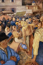 """24x30 Camille Pissaro  """"VILLAGE MARKET' - $37.24"""