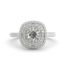 2.18 ct Cushion Brilliant Moissanite & Diamond Double Halo Engagement Ring 18k W - $1,623.00