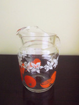 Oranges Daffodil Flower Small Clear Glass Serving Pitcher Vintage Federa... - $47.52