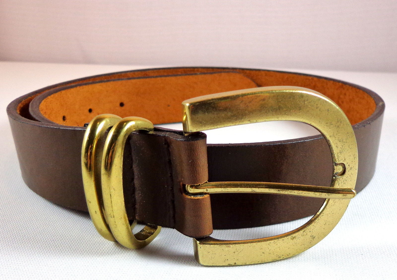 Womens Brown Leather Belt NY & Co Size M Gold Tone Buckle