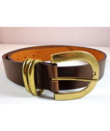 Womens Brown Leather Belt NY & Co Size M Gold Tone Buckle - $17.95