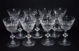 """11 Beautiful Cut Glass Crystal Stem 4 oz Wine Bar Glasses~5 1/4"""" Tall - $87.12"""