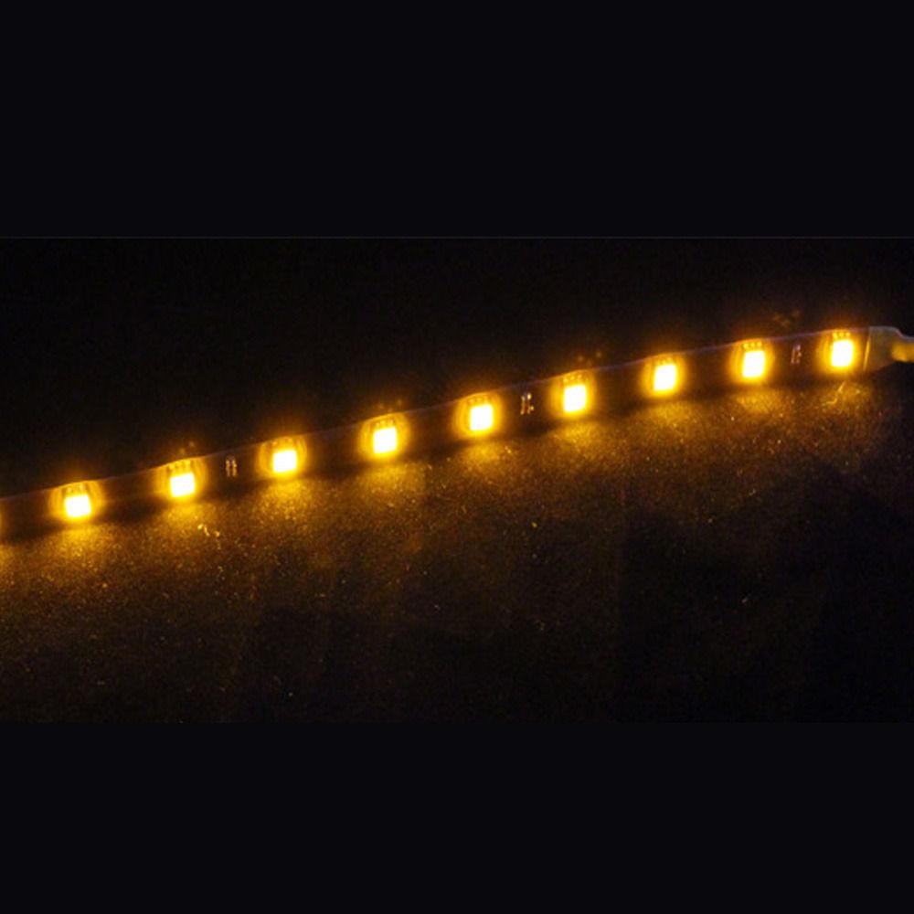 2 X 15 LED 30cm Car Auto Motor Flexible Waterproof Strip Light Yellow 12V Sales