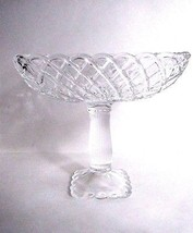 "L E Smith Trellis Pattern Large Compote Clear Glass 9"" Square - $29.65"