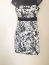 H&M Leaf Print Strapless Sexy Black & White Dress Size 4 - $9.49