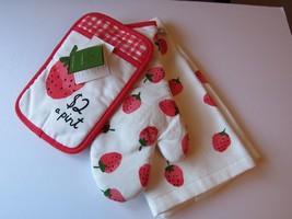 Kate Spade New York Strawberry Print 3-Piece Linen Set Kitchen Towel Ove... - $29.69