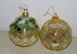2 Large Holly Leaf Glass Gold Lacey Lace Ornament 15450 - $18.49