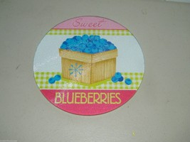 Tempered Glass Trivet Fruit Fresh Blueberries Sweet 8 Inch 15186 - $17.41