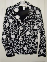 Laura Ashley Black Jacket Ribbons Flowers 17758 - $39.23