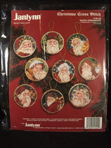 "Janlynn Santa Ornaments Christmas Cross Stitch Kit 3"" Round Donna Giampia 12555 - $29.60"