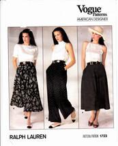 Ralph Lauren Flared Skirt Pants Vogue Sewing Pattern 1723 Sz 10 Uncut FF  - $10.88
