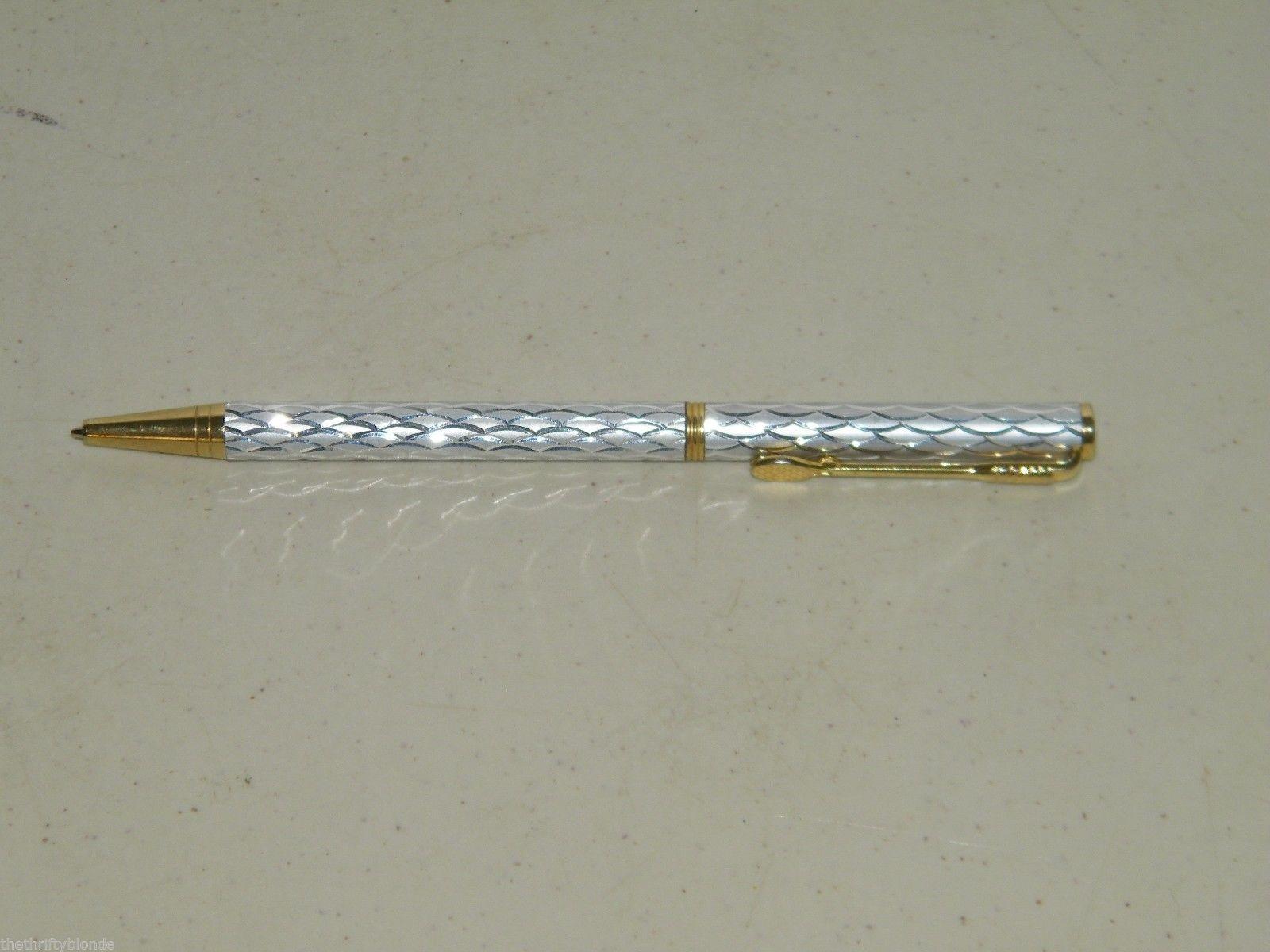 Vintage Tennis Silver Gold Ballpoint Pen Ball Point 17052