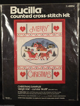 Sampler Bucilla Christmas Sleigh Ride Cross Stitch Holiday Kit 48814 Sz ... - $29.69