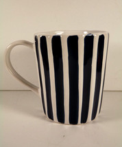 Starbucks Coffee Mug Cup 12 oz Blue White Striped Fluted Ribbed Sides 2008  - $18.56