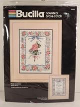 Bucilla Rose Garden Sampler Picture Cross Stitch Kit 40770 Balangier Sealed - $34.64