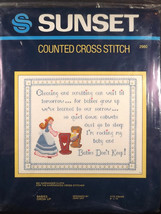 Sunset Babies Grow Up Counted Cross Stitch Kit Jean Day Hardanger Cloth ... - $29.60
