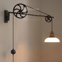 Circa 1930 Adjustable Pulley Sconce - Gunmetal Rotary Wheel Wall Lamp Plug Light - $250.36