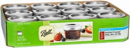 Ball 1440080400 Regular Mouth 4 Ounce Jelly Jars w/ Deco Rings & Lids Ca... - $10.88