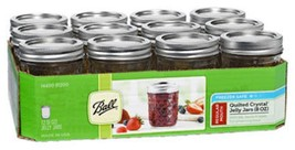 Ball 1440081200Regular Mouth 8 Ounce Jelly Jars w/ Deco Rings & Lids Cas... - $12.86
