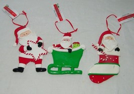 3 Santa Claus Christmas Ornaments Ornament Xmas Celebrate It 19007 - $13.32