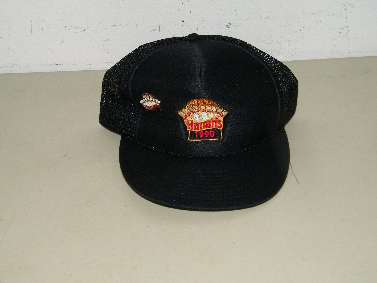 Vintage Harrah's 1990 Black Baseball Hat Cap Ball Base Harrahs 17399