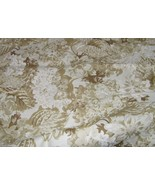 2 1/4 Yards Pale Tan on Cream Faded Floral Home Dec Cotton Fabric 16614 - $23.95