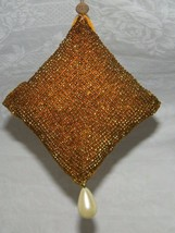 Vintage Gold Beaded Christmas Ornament Holiday Xmas 18567 - $13.99