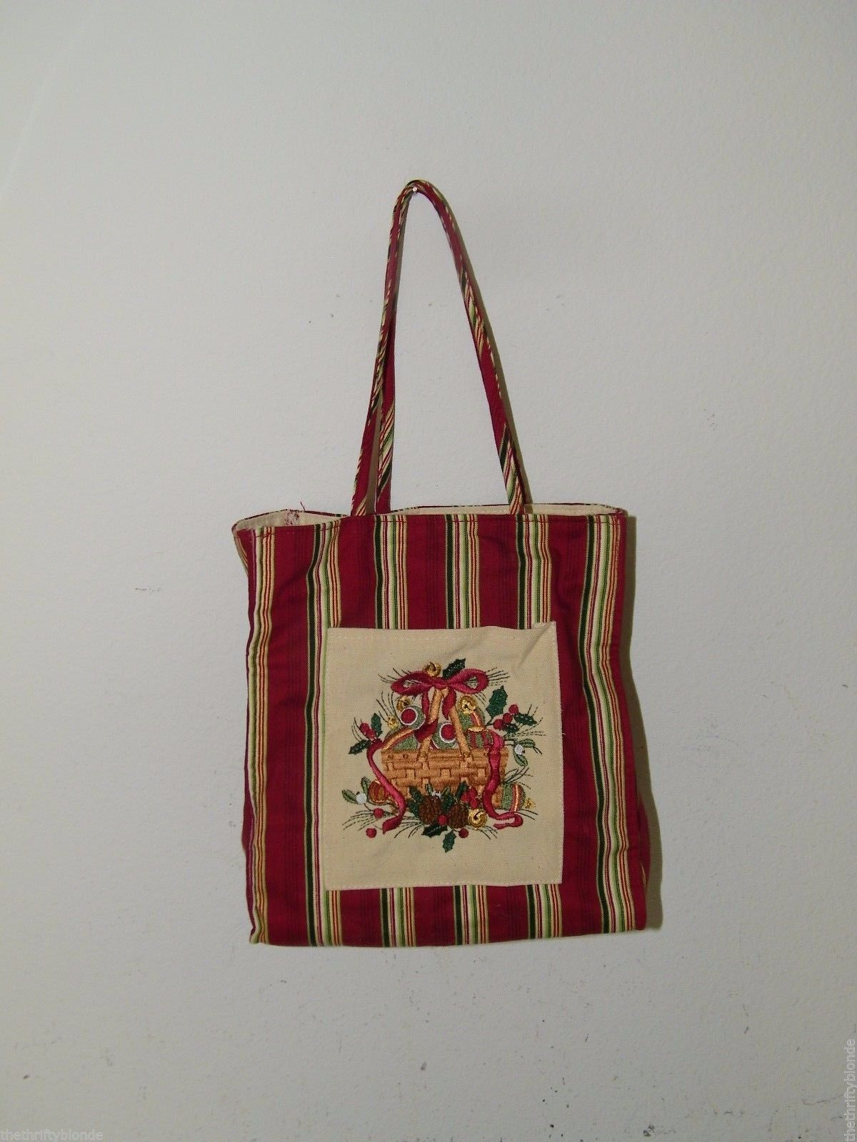 Primary image for LONGABERGER CHRISTMAS STRIPE Christmas Tote Gift Bag Xmas Holiday 17485