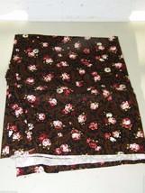 Brown Pink Rose Roses Swirl Cotton Lycra Fabric 7/8 Yard 17456 - $13.99